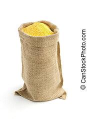 lino, farina, granaglie, isolato, borsa, fondo, bianco