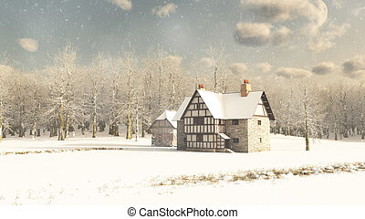 Medieval Farmhouse in Winter Snow