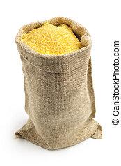 tela, isolato, borsa, fondo, farina di mais, bianco