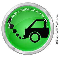 Reduce carbon emissions car button isolated on white...