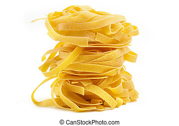 pile of tagliatelle isolated on white background