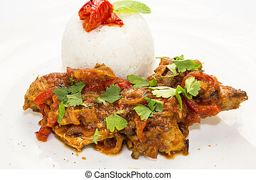rice with stewed chicken