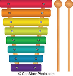 Toy Xylophone - Layered vector illustration of Toy...