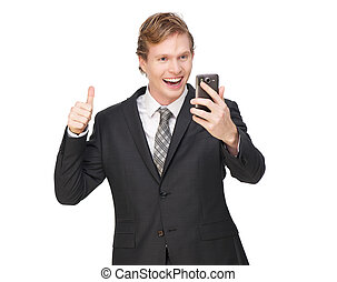 Thumbs Up for Business - Business man with thumbs up....