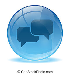 Blue abstract 3d talk icon