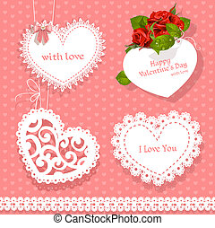 set of cards Valentine heart-shaped for your congratulations...