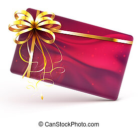 Gift card - illustration of red decorated gift card with...