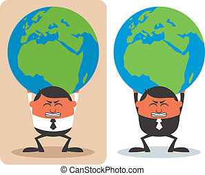 Businessman Holding Earth - Conceptual illustration of...