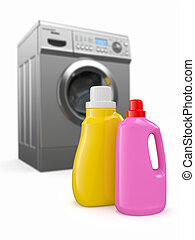 Washing machine and detergent bottles on white backround 3d