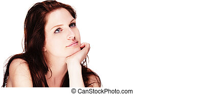 portrait of a beautiful dreaming woman on white background