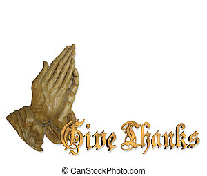 ação graças, orando, mãos, 3D