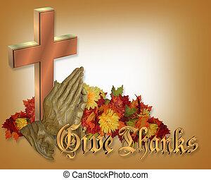 ação graças, cartão, orando,...