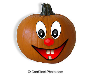 Halloween Pumpkin Happy Face 3D - 3D Image and illustration...
