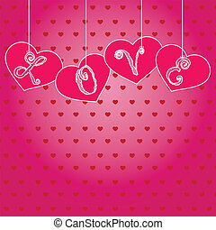 Hanging hearts with letters