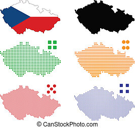 Czech Republic - Vector illustration pixel map of Czech...