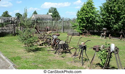retro agricultural tools - old agricultural rusty tools...