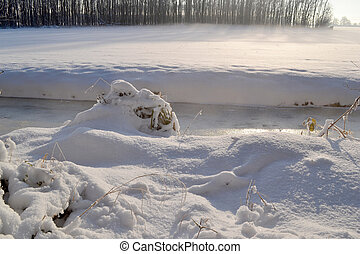 Winter landscape with snow. - Pasture with snow in the...