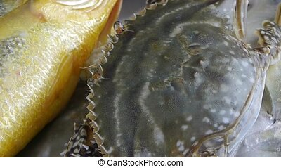 Delicious crab and Croaker Pomfret - Delicious crab Croaker...