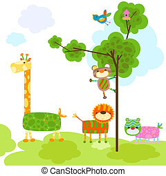 cute animals design - cute animals with tree and bird cage