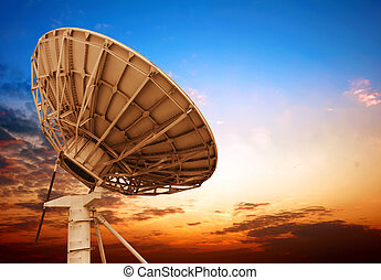 Satellite dish - Satellite antenna dusk background