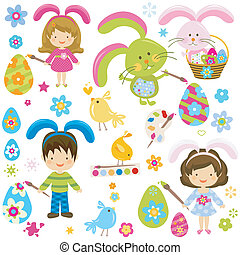 easter children - children painting the easter eggs