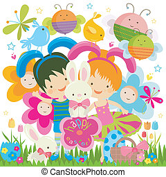 Easter background with happy bees and flowers