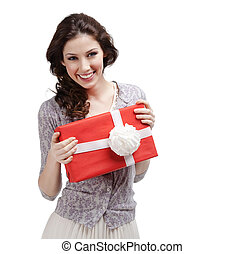 Young woman hands a present with white bow - Young woman...
