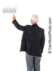 Asian businessman hand pointing business chart