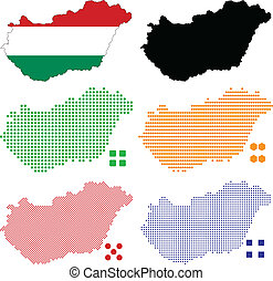 Hungary - Vector illustration pixel map of Hungary
