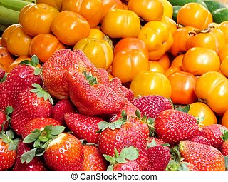 Tel Aviv strawberry and persimmon 2013 - Red strawberry and...