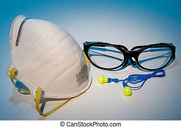 Personal Protective Equipment - Dust mask, ear plugs and...
