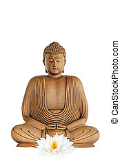 Buddha at Peace - Buddha with a white lotus lily flower in...