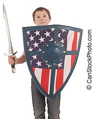 child - A child with a knight's shield, dagger and flag of...
