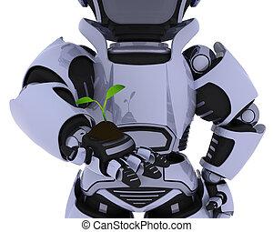 育てること, 植物, ロボット, 実生植物