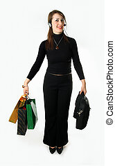 Busy woman - Merry girl has in the hands packets and bag