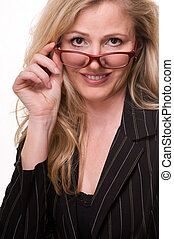 Business woman in glasses - Attractive professional blond...