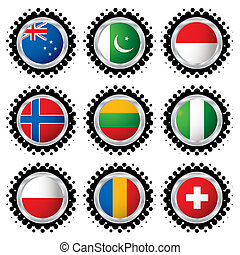 halftone flag buttons 3 - Collection of national flag with a...