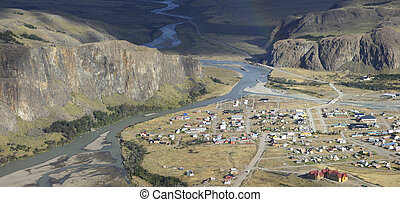 Panorama of El Chalten, Patagonia - Panorama of the village...