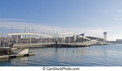 Panoramic of Rambla del Mar, Barcelona - La Rambla de Mar is...