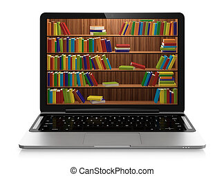 Electronic library - Computer generated 3D illustration of...
