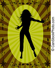dancing woman - silhouette of dancing woman on background...