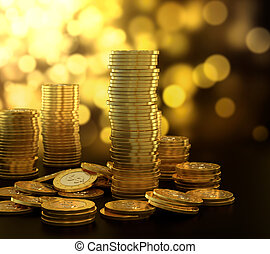 Gold coin stack - 3D illustration of gold coin stack on blue...