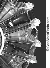 Radial engine of old airplane - Black-white photo
