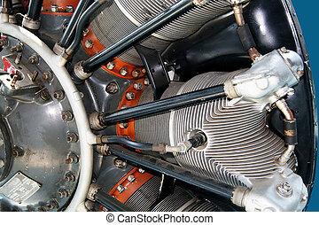 Radial engine of an airplane close - Propeller and radial...