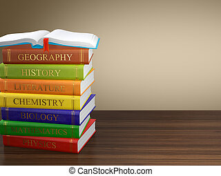 Multi colored book stack - Computer generated image of multi...
