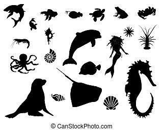 Sea world silhouette - Marine life