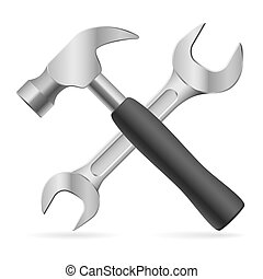 Tools for repair - Hammer and wrench Illustration on white...