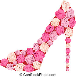 Shoe from roses - Female shoe from roses. Fashion...