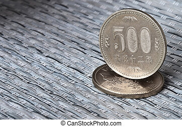 Japanese currency coins - Two japanese coins, each value...