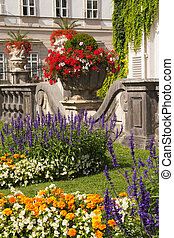 The floral decoration in the garden